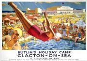 Butlin's, Clacton-on-Sea, Essex. LNER Vintage Travel poster by Joseph Greenup. 1930's
